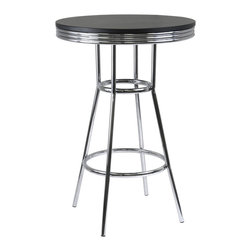 Winsome - Summit Pub Table 30 in.  Round - Summit retro pub table has a polished metal frame and legs with black composite wood top. The table top is 30 in. diameter to accommodate dinner plates , beverage ware and condiments. At 40.55 in. high, the matching swivel barstools are a perfect compliment for the table.