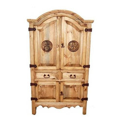 Million Dollar Rustic - Small Sierra Armoire w Adjustable Shelves - Includes garment rod used as wardrobe hanger. Classical style. Two drawers. Adjustable shelves top and bottom. Suitable for storage and entertainment. Warranty: One year. Made from white pine. Inside top: 38 in. W x 23 in. D x 32 in. H. Inside bottom: 38 in. W x 23 in. D x 14 in. H. Overall: 40 in. W x 23 in. D x 69 in. H (100 lbs.)