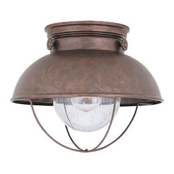 Seagull - Seagull Outdoor Sebring Flush Mount Outdoor Lighting Fixture in Weathered Copper - Shown in picture: 8869-44 Single-Light Sebring Outdoor Ceiling in Weathered Copper finish with Clear Seeded Glass
