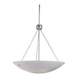 Kichler Family Space 2754NI Inverted Pendant - 26 in. - Brushed Nickel - Featuring classic influences, the Kichler Family Space 2754NI Inverted Pendant - 26 in. - Brushed Nickel elegantly fuses traditional with contemporary. A clean, sleek profile shows its inclination towards minimalism. Its inverted diffuser helps distribute light, creating a radiant ambience in any room or area. The satin-etched glass shade and complementing finish add to its visual appeal. Hang this light fixture over a table, desk or any area that requires focused lighting. Kichler QualitySince 1938, Cleveland-based Kichler Lighting has been known for their innovative designs and excellent craftsmanship. Kichler is the world's leading decorative lighting fixture company and the winner of four ARTS Lighting Manufacturer of the Year awards. Kichler designers travel the world to discover the latest trends in exterior and interior style, colors, and designs. They then translate the best of those trends into fixtures that will bring beauty, pleasure, and light into your home. Kichler fixtures stand the test of time and are functional works of art that you're sure to treasure.