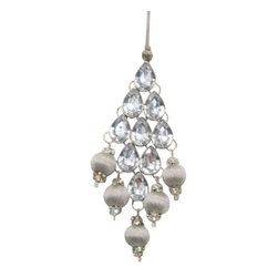 Silk Plants Direct - Silk Plants Direct Rhinestone and Yarn Ball Drop Ornament (Pack of 6) - Silver C - Silk Plants Direct specializes in manufacturing, design and supply of the most life-like, premium quality artificial plants, trees, flowers, arrangements, topiaries and containers for home, office and commercial use. Our Rhinestone and Yarn Ball Drop Ornament includes the following: