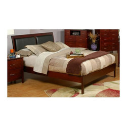 Alpine Furniture - Newport Platform Bed (Full) - Choose Size: FullIncludes complete set of slats. Chest not included. Faux leather headboard. Box spring not required. Six months warranty. Made from select solids and veneer. Medium cherry finish. Made in Indonesia. Full: 78.75 in. L x 56.5 in. W x 43 in. H. Queen: 83.75 in. L x 63 in. W x 43 in. H. California king: 89 in. L x 75.75 in. W x 43 in. H. Eastern king: 83.75 in. L x 79.25 in. W x 43 in. H