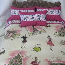 Cute 5-piece American Girl Doll Bedding, Paris Theme by Cuddle Bug Baby - Perfect for the tween stage of a girl's Paris dreams, this set has lots of colors. I like the sketch-style drawings.