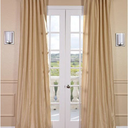 Half Price Drapes - Almond Vintage Textured Faux Dupioni Silk Single Panel Curtain, 50 X 96 - - The perfect subtle accent to any room, Faux Silk Dupioni curtains in Almond provide the versatility of a neutral and the interest of a color. Our Faux Silk Dupioni curtains have a slight sheen that mimics the finest textured Dupioni silk. These curtains bring the look of luxury without the cost or high-maintenance care. Built-in are two header designs within a single panel: attached back tabs for a formal pleated look and traditional pole pockets.   - Single Panel   - 3 Rod Pocket with Back Tab   - Pole Pocket with Back Tabs   - Dry clean   - 100% Polyester Dupioni Fabric   - Lined with a cotton blend material  - 50x96   - Imported   - Beige Half Price Drapes - PDCH-KBS3-96