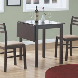 Monarch Specialties - 3-Pc Dining Set - (Cappuccino) - Finish: CappuccinoIncludes table and two side chairs. Drop leaf table. Sleek square legs. Ladder back chairs. Upholstered seat. Chair: 17 in. W x 16 in. D x 32.5 in. H. Table: 35 in. L x 30 in. W x 30 in. H (50 lbs.)This casual three piece dining set offers classic styling that will blend with any decor.