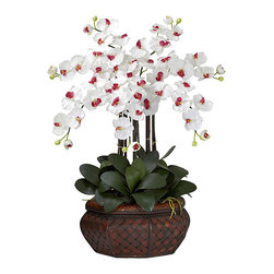 Nearly Natural - Large Phalaenopsis Silk Flower Arrangement - To enjoy the beauty of fresh flowers all year long without the maintenance and clean-up, decorate your home with this silk flower arrangement. Large silk Phalaeonopsis flowers sit in a woven rattan basket filled with green faux foliage.