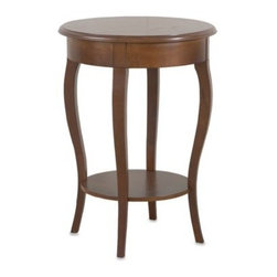 "Carolina Chair & Table - Carolina Chair & Table Radner Side Table in Chestnut - The highly functional design of this side table features an 18"" rounded top with an apron and a lower shelf for plants, collectibles or other items. The table's elegant contoured legs sweep in a gentle S"" curve and finish in a tapered flare."