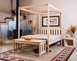 Four Poster Queen Canopy Bed - The Capitan Four Poster Bed by Nomad Furniture. Shown here in maple with an oil finish. Also available optionally as shown are the mission coffee table and bed table with drawer. Photo Credit: Dave Cady
