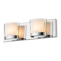 Golden Lighting - 2-Light Bath Vanity in Metallic Chrome Finish - Includes two 40W G9 halogen bulb. Traditional style. Oval and contemporary double-layer glass shade. Cased opal glass diffuser inside clear glass. Large rectangular back plate allows for easy remodeling installations. Provides a well diffused light over a vanity or mirror. Made from iron and glass. Fixture width: 15.75 in.. Fixture height: 4.75 in.. Fixture extension: 4.25 in.. Wire length: 8 in.. Shade: 5.75 in. Dia.. x 4.25 in. H. Back plate: 15.75 in. W x 0.75 in. D x 4.75 in. H