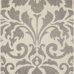Nuloom - nuLOOM Transitional Indoor/ Outdoor Damask Grey Rug (7'10 x 10'10) - This damask indoor outdoor area rug is made of polypropylene that is easy to clean as well as it is stain and mildew-resistant. This outdoor and indoor rug promises durability and beautiful versatile colors that will certainly match your decor.