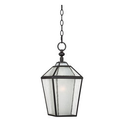 """Franklin Iron Works - Contemporary Blackwood Collection 18"""" High Bronze Outdoor Hanging Lantern - This beautiful bronze finish outdoor hanging lantern with seedy glass detail is the perfect way to bring just the right amount of light to entryways and patios. Features inner acid glass and drop chain detail. From the Blackwood Collection by Franklin Iron Works™.  Outer seedy glass.  Inner acid glass.  Bronze finish.  Includes chain.  Maximum 72 watt medium or equivalent bulb (not included).  18"""" high.  8 1/2"""" wide."""