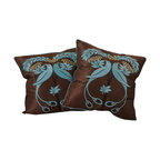"Best Selling Home Decor - 18"" Light Blue Embroidered Pillows (Set of 2) - Give your home an update with this attractive pillow set. These pillows feature a linen blend cover for soft elegance. Set includes: Two pillows; Pattern: Emroidered Bird; Color options: Light Blue, Brown, Tan, Green; Cover closure: Hidden zipper closure; Edging: Knife edge; Pillow shape: Square; Dimensions: 18 inches wide x 18 inches long; Cover: Linen Blend; Fill: 100-percent Polyester; Care instructions: Spot clean with a damp cloth."