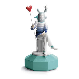 """Lladro Porcelain - Lladro The Lover I Figurine - Plus One Year Accidental Breakage Replacement - """"Hand Made In Valencia Spain - Sculpted By: Marco Antonio Nogueron - Part Of The Lladro Fantasy by Jaime Hayon Collection - Included with this sculpture is replacement insurance against accidental breakage. The replacement insurance is valid for one year from the date of purchase and covers 100% of the cost to replace this sculpture (shipping not included). However once the sculpture retires or is no longer being made, the breakage coverage ends as the piece can no longer be replaced. """""""