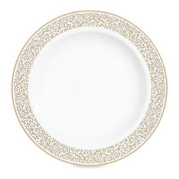 Vera Wang - Vera Wang Wedgwood Filigree Gold 9-Inch Rim Soup Bowl - Vera Wang's Wedgwood Filigree formal dinnerware is an elegant, timeless design of sparkling white rimmed with a thin band of gold vines.
