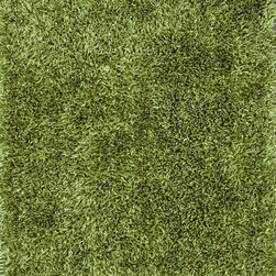 """Loloi - Loloi Carrera Shag CG-01 (Green) 3'6"""" x 5'6"""" Rug - The Carrera Shag Collection brings a hand-tufted construction into the offering. Made in China of 100-percent polyester, this contemporary series offers both solid and multicolor shags in a choice of green, brown, red, steel, blue mocha, charcoal and spice"""
