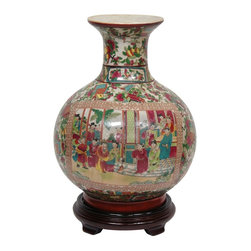"Oriental Furniture - 12"" Rose Medallion Porcelain Vase - Traditional round bodied porcelain vase with a narrow neck and wide rim. Features an appliqued colorful courtyard scene surrounded by a medallion border, fired onto the porcelain in a kiln. Festive pattern with oriental object motif. Traditional Rose Medallion panel style bird and lotus paintings on neck and base, above a bright red band. Finished in a medium gloss crackle glaze."