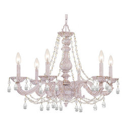 Crystorama - Crystorama 5026-AW-CL-MWP Sutton 6 Light Chandeliers in Antique White - The Sutton Collection uses distressed gold brush strokes over an Antique White finish to remind us of a Paris flea market. The combination of wrought iron with clear crystal accents makes this fixture both timeless and whimsical. This Paris Flea chandelier works perfectly in small spaces and children's rooms.