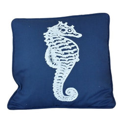 Handcrafted Nautical Decor - Navy Blue and White Seahorse Pillow 16'' - This charming Navy Blue and White Seahorse Pillow 16'' combines the   atmosphere of the sea along with a decorative lobster stitched into the   front of our pillow. This beach theme throw pillow will round out your  beach house. Place this beach theme  pillow in   your home to show  guests your affinity for beach  decor.--Dimensions: 16'Long x 3'Wide x 16'High----    Handcrafted by our master artisans--    Wonderful seahorse decoration prominently displayed on the front side of pillow--         --    Blue and white are perfect nautical colors to accent nautical throw pillow--