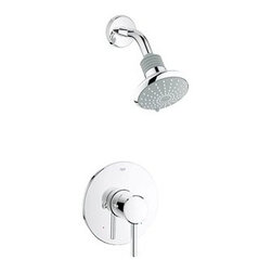GROHE - Grohe Concetto Shower Combination Trim - Starlight Chrome - Engineered to compliment, designed to impress, the Grohe Concetto Shower Combination trim kit, when used in conjunction with the appropriate pressure balance valve rough, maintains your desired water temperature and helps prevent scalding by compensating for pressure fluctuations. A trim kit is the perfect choice for a hassle-free faucet upgrade or replacement without the added cost of new hardware. Includes only the exterior elements. Valves and plumbing not included. Featuring Grohe exclusive StarLight plating and SilkMove and DreamSpray technology. Starting with their unique StarLight plating process, Grohe sub-plates layers of copper or nickel, depending on the surface, to ensure a flawless non-porous base for their dazzling finish layer. StarLight ensures a luminous mirror-like sheen that is resistant to scratches and tarnishing for years of stunning, trouble-free use. Grohe's innovative SilkMove cartridges are fashioned from advanced ceramic alloys, then are coated with an exclusive Teflon lubricant, ensuring a lifetime of rich smooth faucet function and quiet, leak-free operation. The dream of the perfect shower is now reality with Grohe DreamSpray technology. With their dedication to innovation, Grohe has created the advanced DreamSpray shower engine that guarantees an equal flow of water to each individual shower nozzle, for the ultimate shower experience. Features & Specs Single lever handle Euphoria shower head Brass arm For use with Grohsafe Pressure Balance Rough-In Valve (35015) Flow Rate @ Shower Head: 2.5 gpm at 80 psi (9.5 lpm) ADA Compliant View Spec Sheet