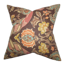 """The Pillow Collection - Kiriah Floral Pillow Espresso 18"""" x 18"""" - Exotic and rich, this throw pillow is a definite must-have for your home. Let this sophisticated decor piece brings comfort and dimension to your sofa, bed or accent chair. It features a lovely mix of colors, including: orange, brown, red, yellow and orange. Made of 100% soft and durable linen material."""