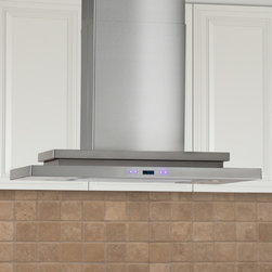 """36"""" Pelos Series Island Stainless Steel Range Hood - 900 CFM - The perfect statement piece for your kitchen, the Pelos Series Range Hood provides style and function. Made of quality stainless steel, this exclusive range hood will be a lasting appliance in your kitchen."""