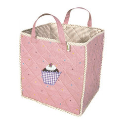 "Wingreen - WinGreen Toy Bag - Gingerbread - Our Gingerbread Toy Bag is lightly padded and is appliqued and embroidered with a yummy cupcake and finished with a light dusting of multi-colored dots.  Natural mini-gingham lining and trim. Machine washable. Size: 15.75"" x 15.75"""