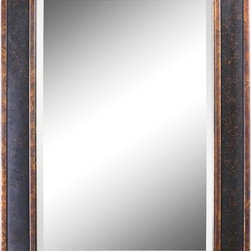 "Uttermost - Bergamo Rectangular Beveled Vanity Mirror in Chestnut Brown - Frame features a distressed chestnut brown finish with mottled black undertones, gold leaf details and a light tan glaze. Mirror has a generous 1.25"" bevel. Features: -Bergamo rectangular vanity mirror. -Distressed chestnut brown finish with mottled black undertones, gold leaf details and light tan glaze. -Generous 1.25"" bevel. -Overall dimensions: 38"" H x 28"" W x 1"" D."