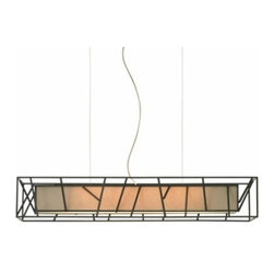"""LBL Lighting - LBL Lighting The Derby Rectangular - The Derby Rectangular Pendant has been designed and made by LBL lighting. This pendant is uniquely designed with a metal frame with a fabric tan inner shade along with an opal diffuser to enhance the color. This pendant can be adjusted to your specifications it comes with a 6' of field-cuttable aircraft cable. The light comes with 1 x mini bi-pin base 24 watt T5 high output linear fluorescent lamp no additional purchase necessary. cETL LISTED        Product Details: The Derby Rectangular Pendant has been designed and made by LBL lighting. This pendant is uniquely designed with a metal frame with a fabric tan inner shade along with an opal diffuser to enhance the color. This pendant can be adjusted to your specifications it comes with a 6' of field-cuttable aircraft cable.  The light comes with 1 x mini bi-pin base 24 watt T5 high output linear fluorescent lamp no additional purchase necessary. cETL LISTED Details:                         Manufacturer:            LBL Lighting                            Designer:            LBL Lighting                            Made in:            USA                            Dimensions:            Height: 6.0"""" (15.4 cm) X Diameter: 35.3"""" (89.6 cm)                            Light bulb:            1 x mini bi-pin base 24 watt T5 high output linear fluorescent lamp                            Material:            metal, fabric"""