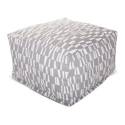 Majestic Home - Outdoor Gray Sticks Large Ottoman - Roomy and comfy with a fun, modern print, this ottoman could quickly become one of the most coveted items in your house. You'll be pulling it out for an impromptu coffee table on the deck, an extra seat for your kid's buddy on movie night or a cushy footrest for the recliner. The beanbag filling is 50 percent recycled beads and the cover is safe for outdoors and removable for easy cleaning.