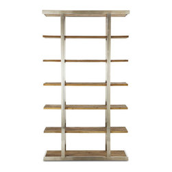 Brownstone Furniture Taylor Bookcase - Crafted of solid wood elm and brushed stainless steel, this impressive bookshelf makes a statement in any living room or library setting.
