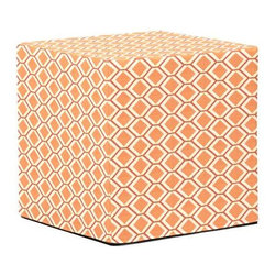 Howard Elliott Geo Tangerine No Tip Block Ottoman - The No-Tip Block is constructed with a dense light-weight foam and then topped off by a soft, high quality foam making it sturdy yet comfortable. Its unique design allows weight to be distributed evenly keeping it from tipping like most foam ottomans. Another bonus? This piece is indoor/outdoor so you can take it outside!