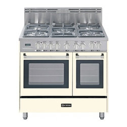 """Verona - VEFSGE365DAW 36"""" Double Oven Dual Fuel Range  5 Sealed Gas Burners  2.4 cu. ft. - The Verona VEFSGE365D 36 in 5-burner double oven duel fuel range offers flexibility and efficiency Chrome knobs and handles porcelain cast-iron grates and caps and EZ clean porcelain oven surface allow effortless glide so you can add check and remove..."""