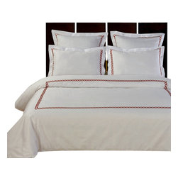 Bed Linens - Amy Embroidered 7PC & 10PC Egyptian cotton Bed in A Bag, Embroidered Red, Twin-7 - You are invited to experience the comfort, luxury and softness of our luxurious Embroidered Amy bedding's. Silky Soft made from 100% Egyptian cotton with 300 Thread count woven with superior single ply yarn. Quality linens like this one are available only at selected Five Stars Hotels. This contemporary fine pattern of Wine color Embroidered with 2-inch width Chains, combines between simple & style. This set Includes one Down Alternative comforter with 300 Thread count cover (micro-fiber) as a bonus. It can be covered by the duvet cover and used in cold winter for warmth. In the summer remove the Down Alternative comforter and use the cover by it self for lighter and cooler nights.