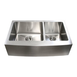 "Ariel - 33 Inch Stainless Steel Curved Front Farm Apron Double Bowl Kitchen Sink - This roomy double bowl apron sink makes kitchen chores more convenient. An ideal addition to the modern kitchen. Overall Dimensions 32-7/8"" x 20-3/4"" x 10"". Apron Depth 9""."