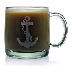 None - Anchor Collection 13-ounce Coffee Mugs (Set of 4) - Enjoy your morning coffee, using this 13-ounce coffee mug to keep your drink warm. The lead-free glass construction ensures this mug is dishwasher safe, and the eye-catching anchor detail effectively portrays your unique personality.