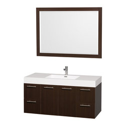 Wyndham - Amare 48in. Wall Vanity Set in Espresso w/ Acrylic-Resin Top and Integrated si - Modern clean lines and a truly elegant design aesthetic meet affordability in the Wyndham Collection Amare Vanity. Available with green glass or pure white man-made stone counters, and featuring soft close door hinges and drawer glides, you'll never hear a noisy door again! Meticulously finished with brushed Chrome hardware, the attention to detail on this elegant contemporary vanity is unrivalled.