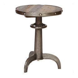 "Prima - Railway Accent Table - The Railway Accent Table is a multipurpose table that can also function as a side or end table. Do not sacrifice style because of limited living space, this table measures 18"" x 18"" x 23.4"". It is the perfect size to bring into your home for both function and style. The table features a cast aluminum frame with a reclaimed wood table top. This popular item has free shipping and ships to your home in 1 week."