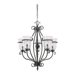 Sea Gull Lighting - Sea Gull Lighting Manor House Traditional Chandelier X-70-1043 - Graceful curves and elegant scrollwork have been paired with other classic details for a visually stunning effect. From the Manor House Collection, it features a bold Weathered Iron finish. This beautiful Sea Gull Lighting chandelier also features candelabra lights seated within clear seeded glass shades for added visual interest.