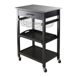 Winsome Trading, INC. - Winsome Wood 20322 Kitchen Cart - Julia Kitchen Cart has granite top for easy to clean and plenty of functions. Cart includes on a drawer, a foldable metal basket, a removable serving tray and fix bottom shelf plus on casters for mobility. Overall cart size is 22.68-Inch Width by 16.06-Inch Depth by 34.13-Inch Height. Granite top size 22.68-Inch Width by 15.75-Inch Depth. Inside drawer is 17.80-Inch Width by 12.40-Inch Depth by 2.4-Inch Height. Foldable wire basket is 15.96-Inch Width top by 13.13-Inch Depth by 4.02-Inch Height. Removable tray is 17.28-Inch Width by 12.54-Inch Depth by 1.22-Inch Height. Black Finish. Assembly Required.
