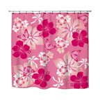 """Surfer Bedding - Eco Friendly Hawaiian """"Aloha Pink """" Hibiscus and Butterflies Shower Curtain - Hibiscus Shower Curtain from our Aloha Hawaiian Surfer Bedding and Bath Collection."""
