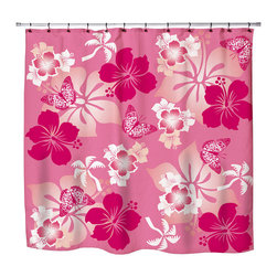 "Surfer Bedding - Eco Friendly Hawaiian ""Aloha Pink "" Hibiscus and Butterflies Shower Curtain - Hibiscus Shower Curtain from our Aloha Hawaiian Surfer Bedding and Bath Collection."