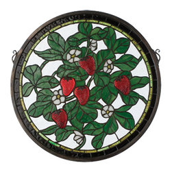 """Meyda - 17""""W X 17""""H Strawberry Medallion Stained Glass Window - Luscious red cast glass strawberries glisten from thelight on this charming strawberry patch stained artglass window. The meyda tiffany original window has aclear textured background, with heather green leavesand tiny white flowers. Brass mounting bracket andchains are included."""