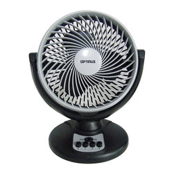 Optimus - 8-Inch Turbo High Performance Oscillating Fan, Black Gray - Give your room a turbo boost! This oscillating fan has a powerful three-speed motor to cool off your space. And, you'll love the European styling — it blends right in with your decor.
