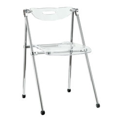 Modway - Modway EEI-148 Telescope Folding Chair in Clear - A combination of convenience and comfort, the Telescoping Chair offer many desirable features. The back tilts to support you, even when you are reclining. For storage, the chair's telescoping legs allow you to effortlessly fold the chair down to a compact storage size. Ultra modern and attractive, these chairs are not only a smart choice, they are a stylish one as well.