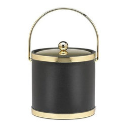 Kraftware - Sophisticates Ice Bucket in Black w Bale Handle - Features metal cover and polished gold bands. 3 quart ice bucket. Classic black leatherette elegance. Made in USA. 9 in. Dia. x 9.in. H (3 lbs.)Always as appropriate as a formal Tuxedo at a reception.