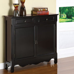 Powell - Powell 2 Door Console - Black - 246-333 - 246-333 - Shop for Home Furnishings and Accents from Hayneedle.com! Traditional furniture has its place - even in modern homes. The Powell 2 Door Console - Black - 246-333's classic lines - stacked upper molding subtly framed sides a curved apron shaped feet - get updated in a deep black finish. Place this heirloom-quality console crafted with durable solid and engineered hardwoods in traditional or transitional spaces or in a more modern brightly colored setting for an eclectic effect. Tuck away treasures in the cabinet space behind the two front doors or in the two narrow top drawers each fronted with decorative trim and hardware.More About Powell FurnitureBased in Culver City Calif. the Powell company designs imports and distributes occasional dining accent and youth furniture across all style categories. Since 1968 Powell has grown to become one of the most recognized names in the home furniture industry. From sturdy safe childrens furniture to elegant bedroom and other home collections Powell continues to develop new and exciting designs for homes around the globe.