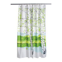 Marimekko Kaiku Shower Curtain - These beautiful birch trees will bring big Scandinavian style to your bathroom. The shower curtain is machine washable so you can always keep it fresh.