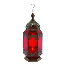 "BZBZ30893 - Traditional Metal Lantern with Red Glass and Intricate Detailing - Traditional metal lantern with red glass and intricate detailing. Artistic in design and innovative in functionality, this aluminum bell is a remarkable accessory that lives up to your style and enhances your choices. It comes with a dimension of 17"" H x 7"" W x 7"" D."