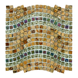 Somertile - SomerTile Reflections Wave Jupiter Glass, Stone and Metal Mosaic Tile (Case of 1 - This tile features glass, metal and stone tiles blended to create a wave pattern to add flair to tile installations. The tiles are frost-proof, making them perfect for interior and exterior walls.