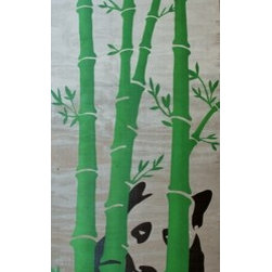Panda (Original) by Michael Lane - Panda sitting and munching in a bamboo forest.